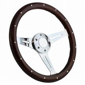 14 U0026quot  Mahogany  U0026 Chrome Steering Wheel  Ford Horn And