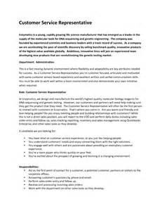 Descriptions For Resumes Customer Service by Customers Service Representative Description