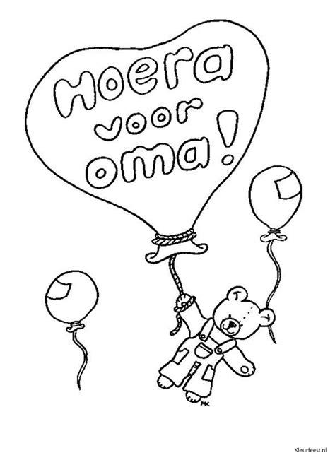 Kleurplaat Hoera Opa Oma by Kleuren Nu Ballon Met Hoera Voor Oma Kleurplaten