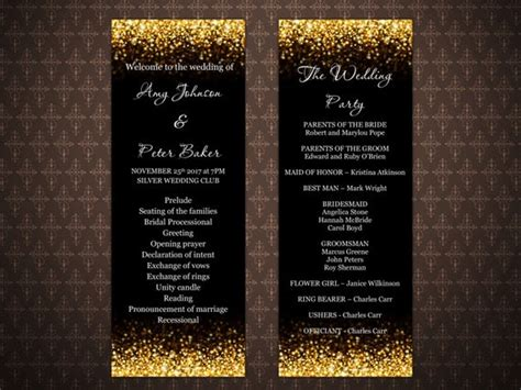 black  gold glitter wedding program templates gold glitter