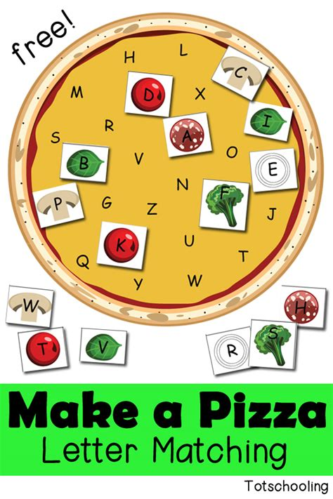 make a pizza letter matching activity totschooling 361 | Pizza%2BLetter%2BMatching free