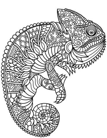 Chameleon Zentangle coloring page Free Printable