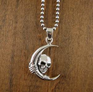 Men's Necklace Skull & Moon Pendant Sterling Silver Gothic