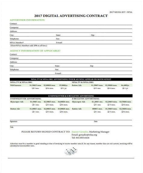 advertising contract templates word google docs