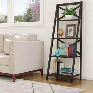 Somerset, Home, Ladder, Bookshelf-4, Shelf, Leaning, Bookcase, With, X, Back, Black