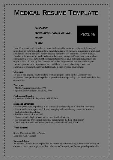 medical resume templates   printable cv templates