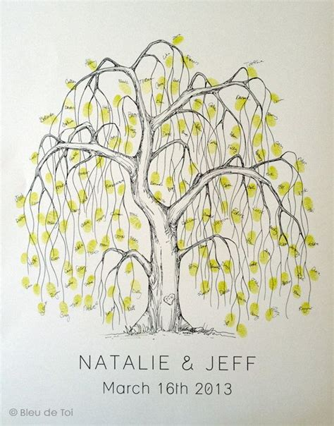 wedding guest book alternative unique guestbook medium willow tree fingerprint tree guest