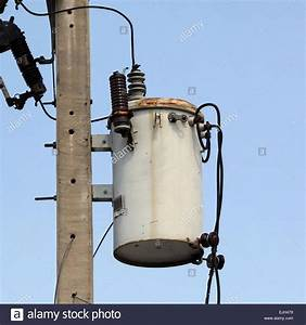 Old Transformer On Electric Pole Stock Photo  80281805