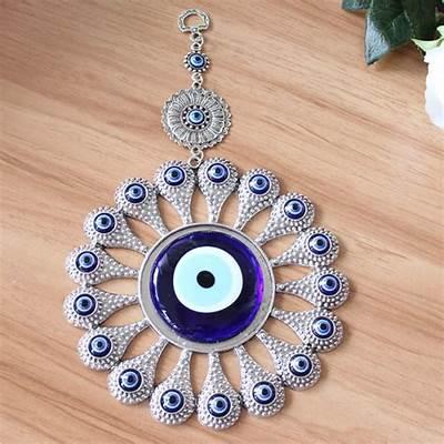 Turkish Evil Blue Eye Glass L28CM Flower Charm Wall