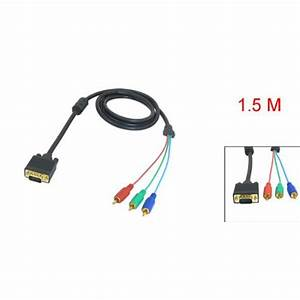Good 1 5m 4 9ft Vga 15 Pin Male To 3 Rca Rgb Male Video