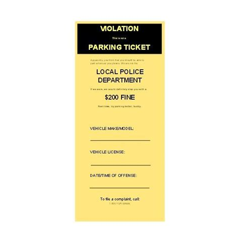 parking ticket template use free microsoft publisher parking ticket templates
