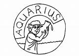 Coloring Zodiac Pages Signs Aquarius Sign Colroing Popular sketch template