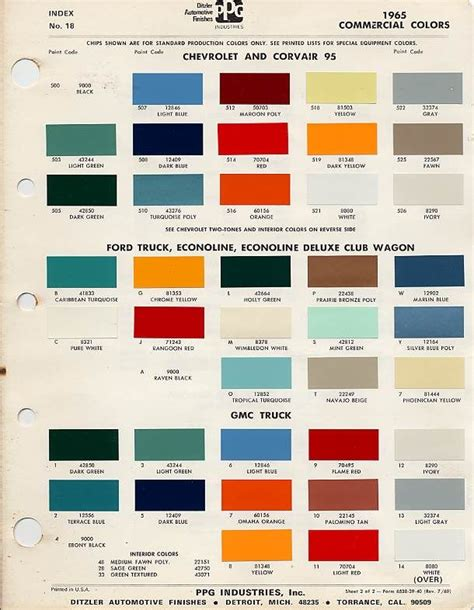 1966 chevy truck factory color code the 1947 present
