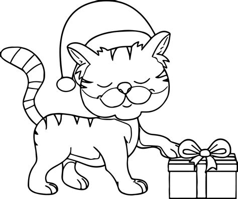 472x678 Santa Hat Clipart Outline Cat With Santa Hat