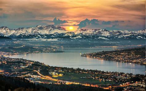 nature landscape panoramas lake zurich switzerland