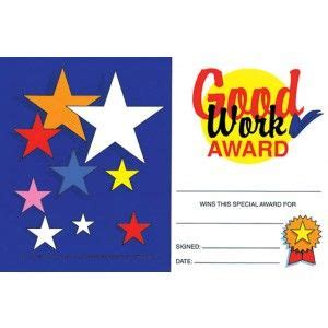 good work award mini certificate pack certificates
