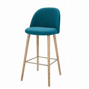 Chaise De Bar Bleu : petrol blue fabric vintage bar chair mauricette maisons du monde ~ Teatrodelosmanantiales.com Idées de Décoration