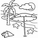 Coloring Beach Tree Palm Pages Trees Landscape Scene Cliparts Summer Adult Print Printable sketch template