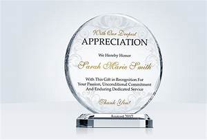circle appreciation gift plaques crystal central With plaque of appreciation template