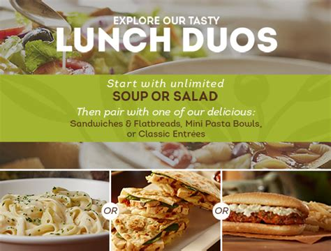 olive garden menu lunch lunch duo starting at 6 99 lunch dinner menu