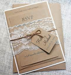 faire part mariage guinguette diy rustic wedding invitation kit eco kraft and rustic lace wedding invitation rustic wedding