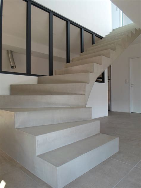 beton cire sur escalier beton m c beton cir 233 perpignan 66 matieres et couleurs