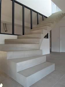 Habiller Un Escalier En Béton Brut : escalier moderne beton cire ~ Nature-et-papiers.com Idées de Décoration