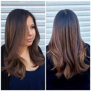 Women39s Long Brunette Hair With Short Layers And Caramel