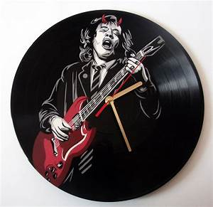 AC/DC Angus Young painted on vinyl record clock by ...