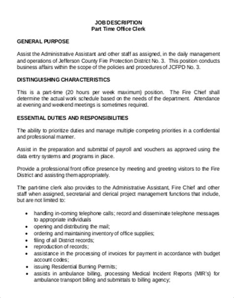 Office Clerk Resume Duties by Payroll Assistant Description Resume Cv Cover Letter