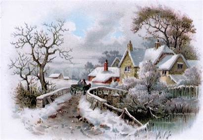 Winter Country Paintings Nature Scene Cat Wallpapers