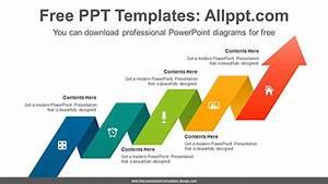 Cascading Ribbon Arrow Powerpoint Diagram Template