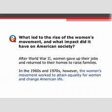 Unit 7 Section 2 Lesson 2 Womens Rights Movement
