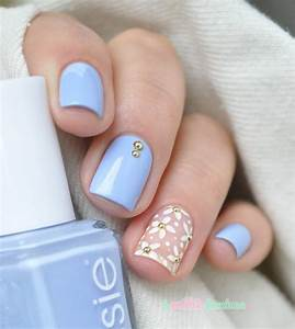 Best Light Blue Nails With Baby Pink Nail | Picsmine