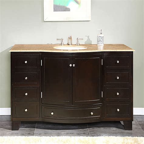 Vanity In - 55 inch single sink bathroom vanity with travertine