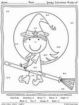 Math Halloween Coloring Fall Code Subtraction Worksheets Printables Puzzles Sheets Spooky Addition Worksheet Pages Maths Grade Number 5th Fun Teacherspayteachers sketch template