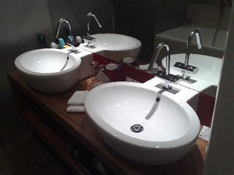 His And Hers Wash Hand Basins In Spacious Bathroom