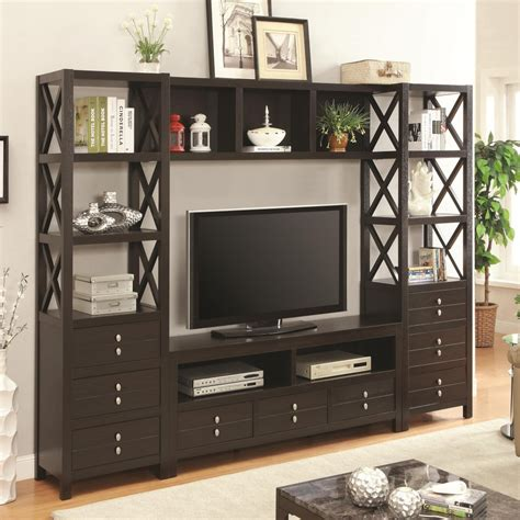 wall unit tv bookcase media tower for tv stands with 3 drawers and 3 shelves
