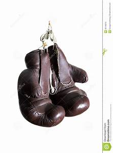 Old Boxing Gloves, Hanging, Isolated On White Background ...