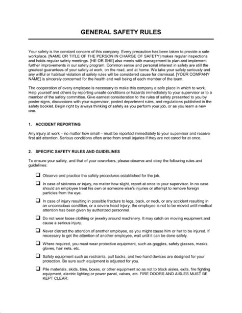 general safety rules template sample form biztreecom