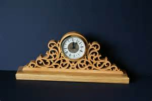 designer mã ntel fretwork ornate wood mantel clock scroll saw cut
