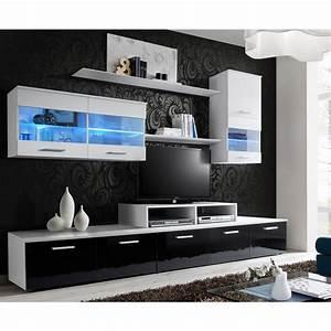 Meuble TV Mural Design Quot39Logoquot 250cm Blanc