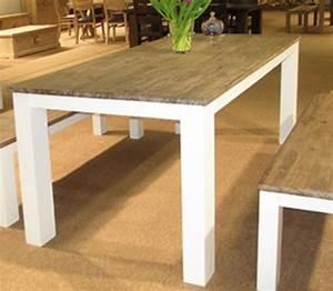 Table En Acacia : table repas avec allonge white horse blanc acacia ~ Teatrodelosmanantiales.com Idées de Décoration