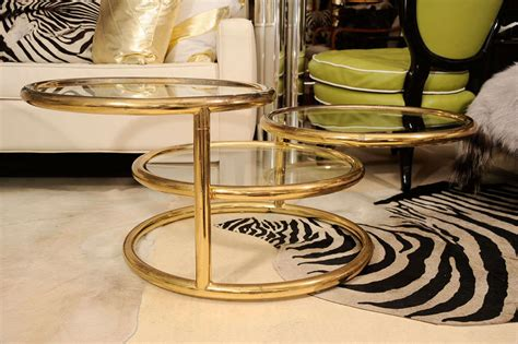 Three Tier Brass Coffee Table At 1stdibs