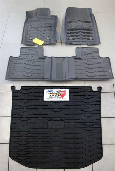 weathertech floor mats jeep grand 2017 16 2017 jeep grand cherokee rubber slush floor mats cargo tray liner set mopar ebay