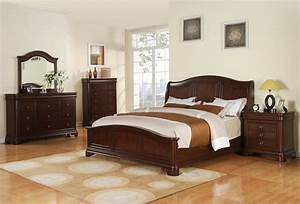 Cameron Bedroom Set (Dark Cherry Finish) - [CM750QB