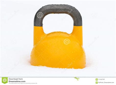 yellow kettlebell weight snow training water handle