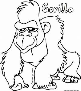 Gorilla Coloring Sheets Free Printable For KidsFree