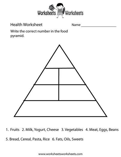 food pyramid health worksheet worksheets worksheets