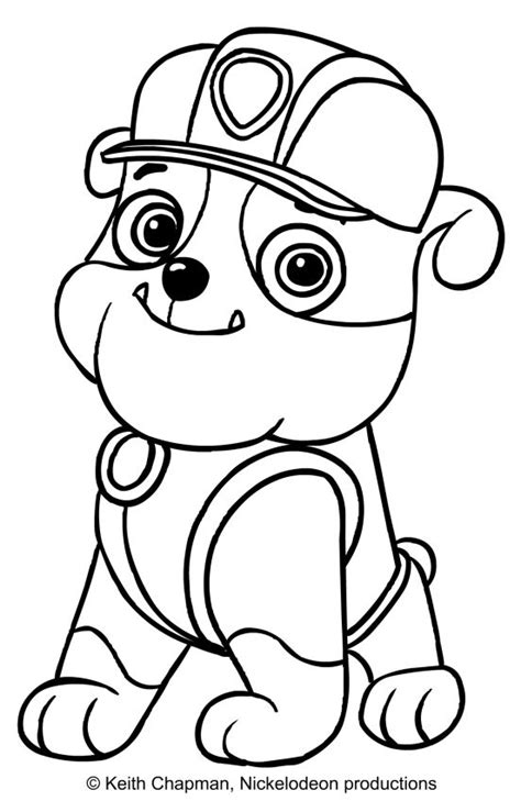 Rubble coloring page Paw Patrol Paw patrol coloring